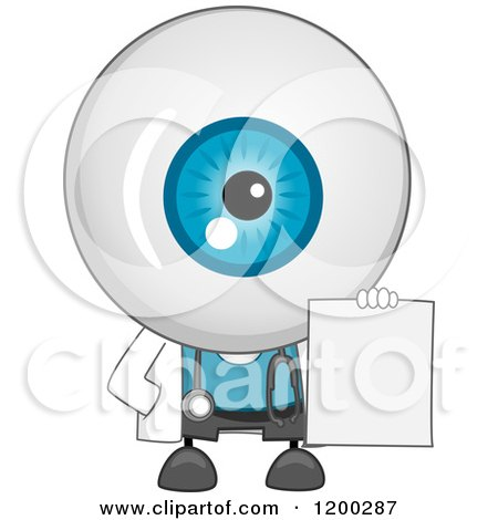 Cartoon of an Eyeball Doctor Mascot Holding a Blank Sign or Prescription - Royalty Free Vector Clipart by BNP Design Studio