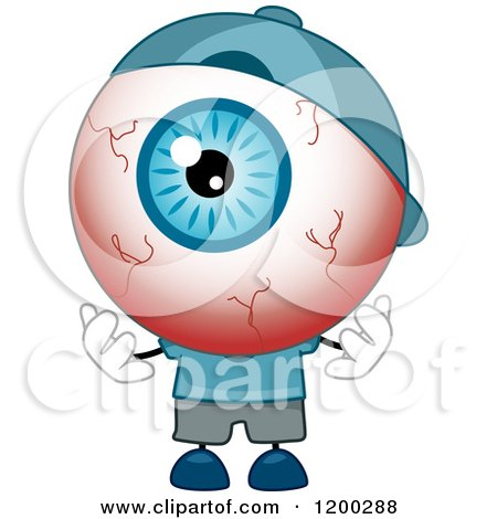 Cartoon of a Tired Red Eyeball Mascot Wearing a Hat - Royalty Free Vector Clipart by BNP Design Studio