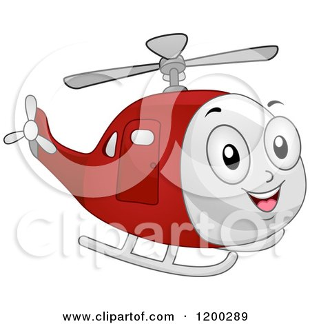 Cartoon of a Happy Red Helicopter Mascot Flying - Royalty Free Vector Clipart by BNP Design Studio