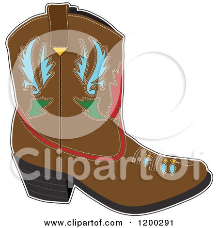 Cartoon of a Brown Cowboy Boot with Designs - Royalty Free Vector Clipart by Maria Bell