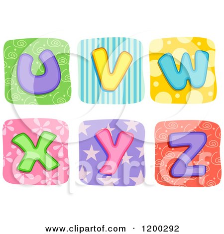 Cartoon of Colorful Quilt Letters U Through Z - Royalty Free Vector Clipart by BNP Design Studio