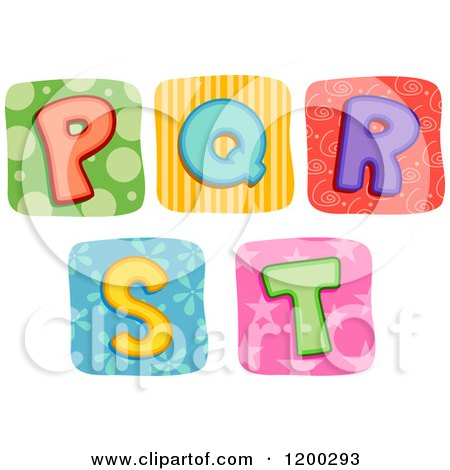 Colorful Quilt Letters P Through T Posters, Art Prints