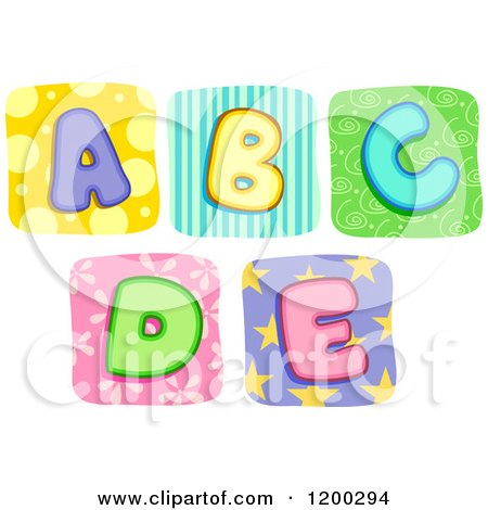 Cartoon of Colorful Quilt Letters a Through E - Royalty Free Vector Clipart by BNP Design Studio