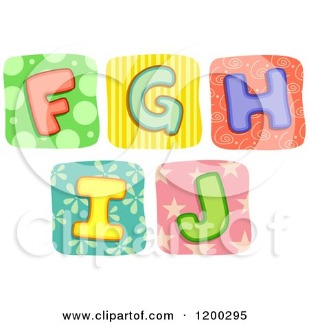 Colorful Quilt Letters F Through J Posters, Art Prints
