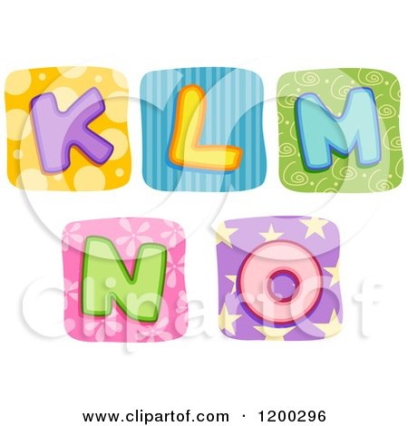 Colorful Quilt Letters K Through O Posters, Art Prints