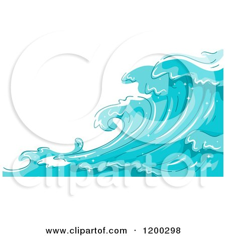 Cartoon of a Background of Blue Water and Splashing Waves 5 - Royalty Free Vector Clipart by BNP Design Studio