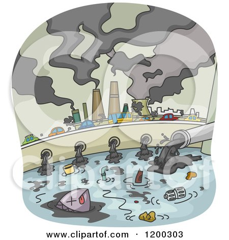 Cartoon of a Polluted City with Smoke Stacks and Waste Flowing into Water - Royalty Free Vector Clipart by BNP Design Studio