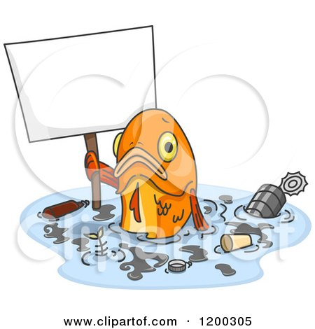 Cartoon of a Sad Fish Holding a Sign in Polluted Water - Royalty Free Vector Clipart by BNP Design Studio
