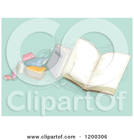 Cartoon of a Painting of School Books on Turquoise - Royalty Free Vector Clipart by BNP Design Studio