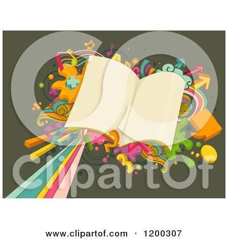 Cartoon of a Retro Burst and School Books on Green - Royalty Free Vector Clipart by BNP Design Studio
