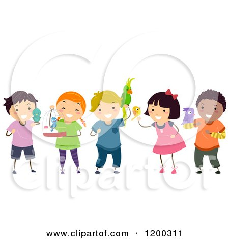 Cartoon of a Group of Happy Diverse Children with Bird Pets - Royalty Free Vector Clipart by BNP Design Studio