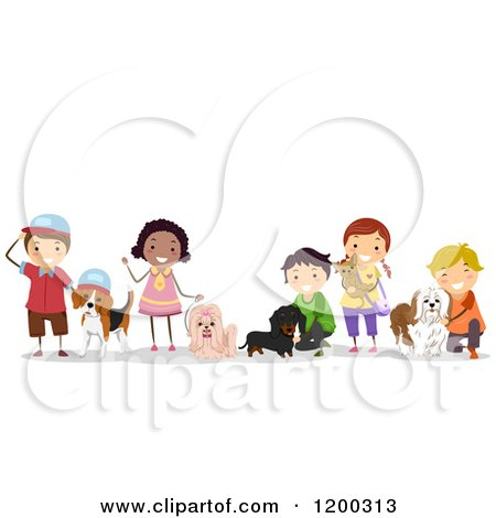 Cartoon of a Group of Happy Diverse Children with Pet Dogs - Royalty Free Vector Clipart by BNP Design Studio