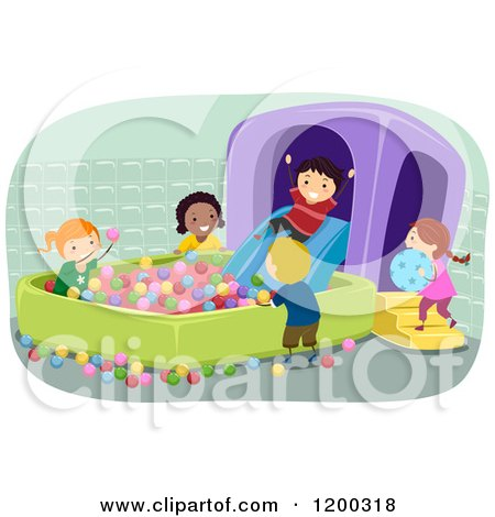 Cartoon of a Group of Happy Children Playing in an Inflatable Ball Pit - Royalty Free Vector Clipart by BNP Design Studio