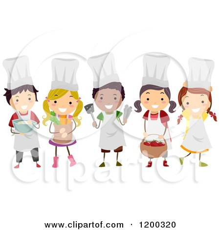 Cartoon of a Group of Happy Diverse Chef Kids with Food - Royalty Free Vector Clipart by BNP Design Studio