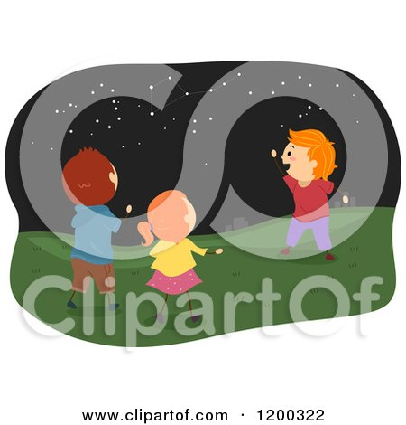 Cartoon of Happy Caucasian Children Viewing Star Constellations at Night - Royalty Free Vector Clipart by BNP Design Studio