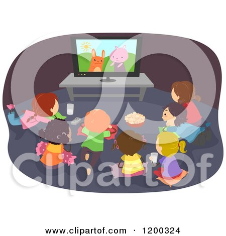 Cartoon of a Group of Happy Diverse Children Gathered Around a Tv with a Cartoon on - Royalty Free Vector Clipart by BNP Design Studio
