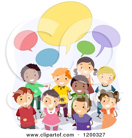 Cartoon of a Group of Happy Diverse School Children with Speech Balloons - Royalty Free Vector Clipart by BNP Design Studio