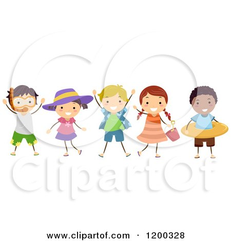 Cartoon of a Group of Happy Diverse Children with Summer Accessories - Royalty Free Vector Clipart by BNP Design Studio