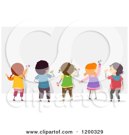 Cartoon of a Group of Diverse Children Decorating a Mural or Board - Royalty Free Vector Clipart by BNP Design Studio