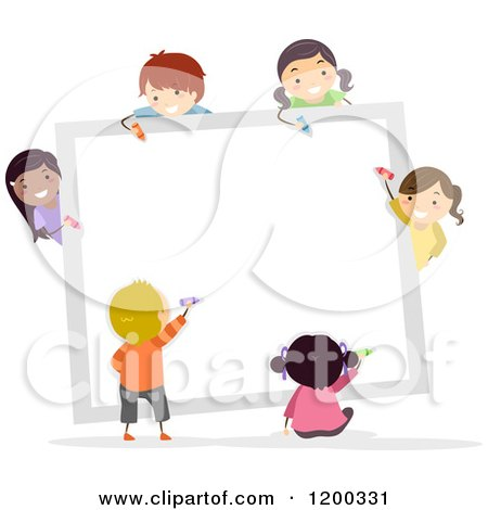 Cartoon of a Group of Happy Diverse Children Coloring a White Board - Royalty Free Vector Clipart by BNP Design Studio