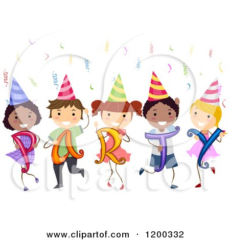 Cartoon of a Group of Happy Diverse Children with Party Hats Confetti and Letters - Royalty Free Vector Clipart by BNP Design Studio