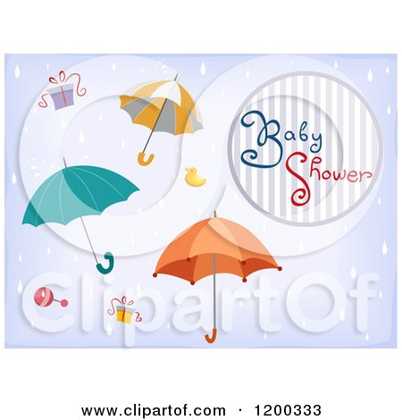 Cartoon of a Baby Shower Invitation with Raining Umbrellas and Gifts - Royalty Free Vector Clipart by BNP Design Studio
