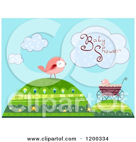 Cartoon of a Baby Shower Cloud over Birds and a Carriage on Hills - Royalty Free Vector Clipart by BNP Design Studio