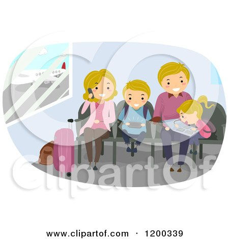 Cartoon of a Happy Caucasian Family Waiting in an Airport - Royalty Free Vector Clipart by BNP Design Studio