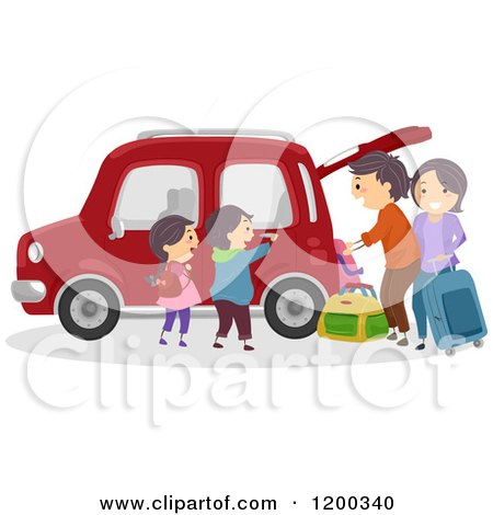 Cartoon of a Happy Family Loading Luggage into Their Car for a Road Trip - Royalty Free Vector Clipart by BNP Design Studio
