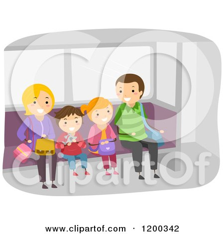 Cartoon of a Happy Family Waiting at a Train Station - Royalty Free Vector Clipart by BNP Design Studio