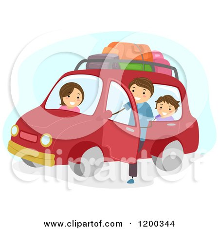 Cartoon of a Happy Family Ready for a Car Road Trip - Royalty Free Vector Clipart by BNP Design Studio