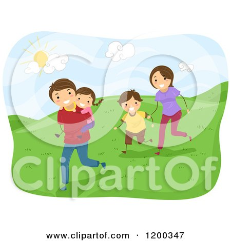 Cartoon of a Happy Family Running on Hills on a Sunny Day - Royalty Free Vector Clipart by BNP Design Studio