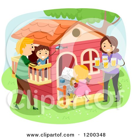 Cartoon of a Happy Family Bonding at a Playhouse - Royalty Free Vector Clipart by BNP Design Studio