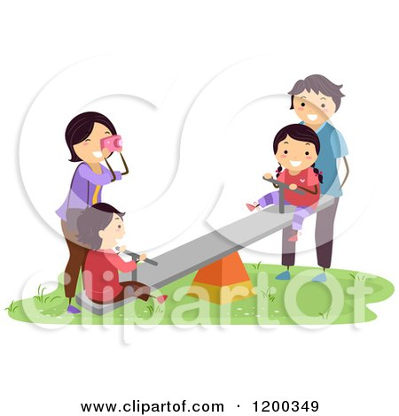 Cartoon of a Happy Asian Family Playing on a See Saw on a Playground - Royalty Free Vector Clipart by BNP Design Studio