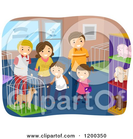 Cartoon of a Happy Family Looking at Dogs in a Pet Shop - Royalty Free Vector Clipart by BNP Design Studio