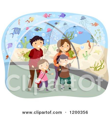 Cartoon of a Happy Family Walking Through an Aquarium Tunnel - Royalty Free Vector Clipart by BNP Design Studio
