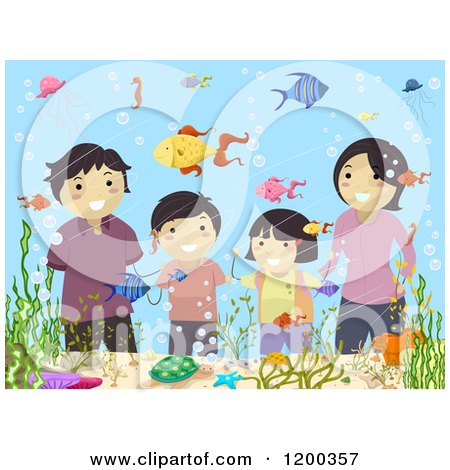 Cartoon of a Happy Asian Family Viewing Fish at an Aquarium - Royalty Free Vector Clipart by BNP Design Studio