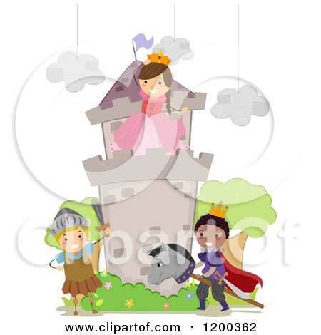 Cartoon of Happy Children Acting out a Fairy Tale School Play - Royalty Free Vector Clipart by BNP Design Studio