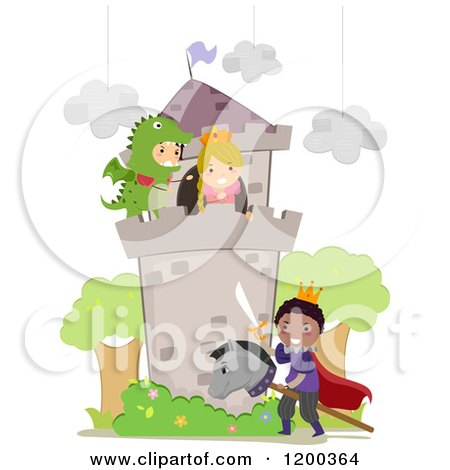 Cartoon of Diverse Children Playing a Dragon Princess and Prince in a School Play - Royalty Free Vector Clipart by BNP Design Studio