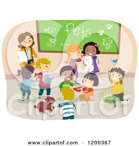 Cartoon of a Female Teacher and Happy Diverse School Chidlren Sharing Their Pets - Royalty Free Vector Clipart by BNP Design Studio