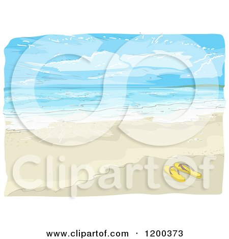 Cartoon of a Painting of Flip Flops on a Beach - Royalty Free Vector Clipart by BNP Design Studio