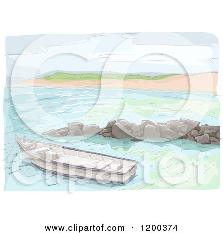 Cartoon of a Painting of a Boat near a Beach - Royalty Free Vector Clipart by BNP Design Studio