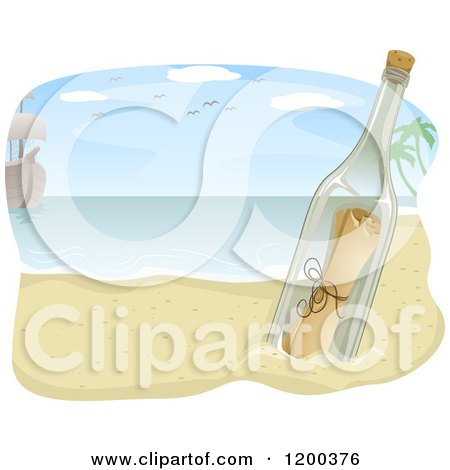 Cartoon of a Ship and Message in a Bottle on a Beach - Royalty Free Vector Clipart by BNP Design Studio