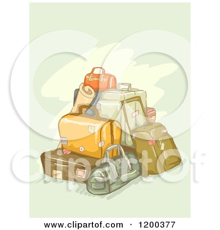 Cartoon of a Painting of Piled Luggage on Green - Royalty Free Vector Clipart by BNP Design Studio