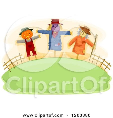 Cartoon of a Farmland Hill with Three Spooky Halloween Scarecrows - Royalty Free Vector Clipart by BNP Design Studio