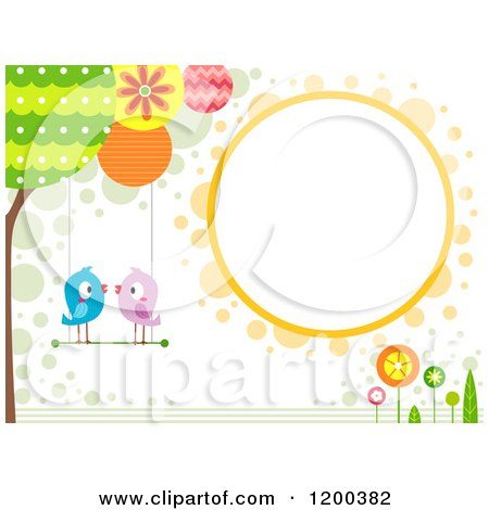 Cartoon of a Retro Background with Birds Smooching on a Swing and a Circle Frame - Royalty Free Vector Clipart by BNP Design Studio
