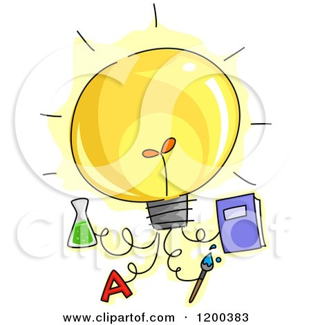Cartoon of a Lightbulb with Attached Educational Ideas - Royalty Free Vector Clipart by BNP Design Studio