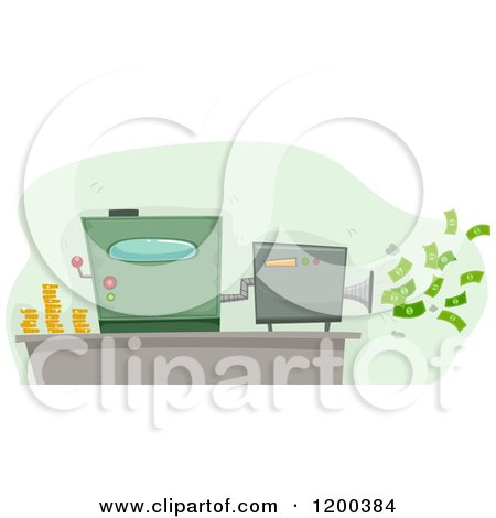 Cartoon of a Money Maker Machine Spitting out Cash - Royalty Free Vector Clipart by BNP Design Studio
