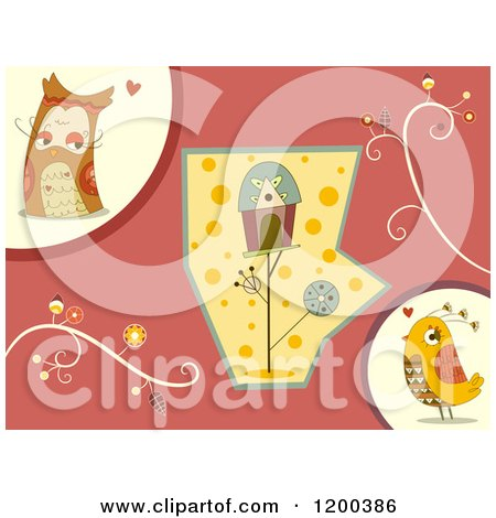 Cartoon of a Bird Couple and House with Retro Vines - Royalty Free Vector Clipart by BNP Design Studio