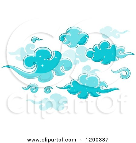 Cartoon of a Background of Sparkly Blue Clouds - Royalty Free Vector Clipart by BNP Design Studio